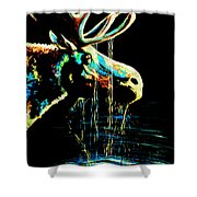 Midnight Moose Drool  Shower Curtain by Teshia Art
