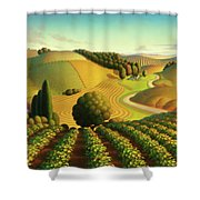 Midwest Vineyard Shower Curtain by Robin Moline