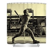 Mike Schmidt At Bat Shower Curtain by Bill Cannon