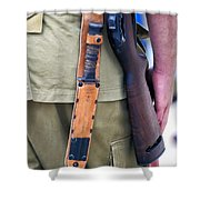 Military Small Arms 01 Ww II Shower Curtain by Thomas Woolworth