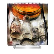 Milk Bottles In Dairy Case Shower Curtain by Susan Savad