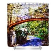Minnewaska Wooden Bridge Shower Curtain by Janine Riley