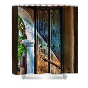 Mission Door Shower Curtain by Joan Carroll