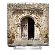 Mission San Jose Chapel Entry Doorway Shower Curtain by John Stephens
