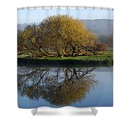 Misty Golden Sunrise Reflection Shower Curtain by Christina Rollo