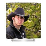 Modern Day Cowboy Shower Curtain by Thomas Woolworth