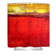 Mojave Dawn Original Painting Shower Curtain by Sol Luckman