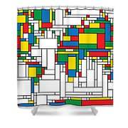Mondrian World Map Shower Curtain by Gary Grayson