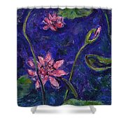 Monet's Lily Pond I Shower Curtain by Xueling Zou