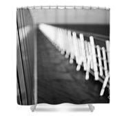 Monochrome Sun Deck Shower Curtain by Anne Gilbert