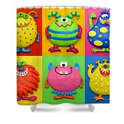 Monsters Shower Curtain by Amy Vangsgard