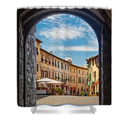 Montalcino Loggia Shower Curtain by Inge Johnsson