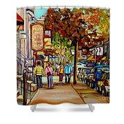 Montreal Streetscenes By Cityscene Artist Carole Spandau Over 500 Montreal Canvas Prints To Choose Shower Curtain by Carole Spandau