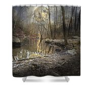 Moon Camp Shower Curtain by Betsy C  Knapp