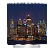 Moon Over Manhattan Shower Curtain by Mike Reid