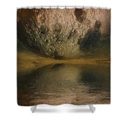 Moon over Ocean Shower Curtain by Ayse Deniz