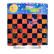 Flight Of The Moon Witch Checkerboard Shower Curtain by Janet Immordino