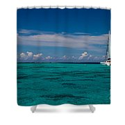 Moorea Lagoon No 16 Shower Curtain by David Smith
