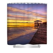 Morning Dock Shower Curtain by Debra and Dave Vanderlaan