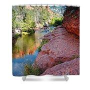 Morning Sun on Oak Creek - Slide Rock State Park Sedona Arizona Shower Curtain by Silvio Ligutti
