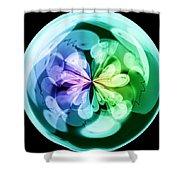 Morphed Art Globes 18 Shower Curtain by Rhonda Barrett