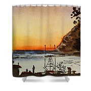 Morro Bay - California Sketchbook Project Shower Curtain by Irina Sztukowski