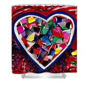 Mosaic Heart Shower Curtain by Genevieve Esson