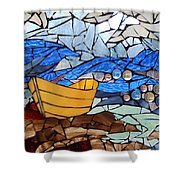 Mosaic Stained Glass - Dory  Shower Curtain by Catherine Van Der Woerd