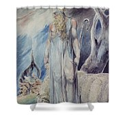 Moses And The Burning Bush Shower Curtain by William Blake