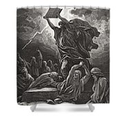 Moses Breaking The Tablets Of The Law Shower Curtain by Gustave Dore