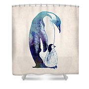 Mother And Baby Penguin Shower Curtain by World Art Prints And Designs
