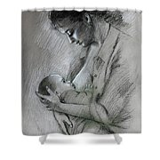 Mother And Baby Shower Curtain by Viola El
