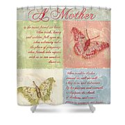 Mother's Day Butterfly card Shower Curtain by Debbie DeWitt