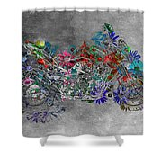 Moto Art  Floral Sp01bb Shower Curtain by Variance Collections