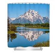 Mount Moran On Snake River Landscape Shower Curtain by Brian Harig