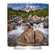 Mount Rainier Glacial Flow Shower Curtain by Adam Romanowicz