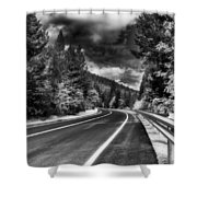Mountain Highway Shower Curtain by Mick Burkey