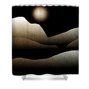 Mountain Moonlight Landscape Art Shower Curtain by Christina Rollo