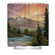 Mountain Sunset Shower Curtain by C Steele