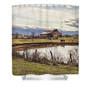 Mountain View Barn Shower Curtain by Heather Applegate