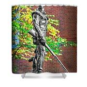 Mountaineer Statue Shower Curtain by Dan Friend