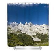 Mountains In The Alps Shower Curtain by Chevy Fleet