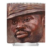 Mr Cool Hat Shower Curtain by Xueling Zou