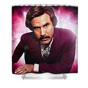 Mr. Ron Mr. Ron Burgundy From Anchorman Shower Curtain by Nicholas  Grunas