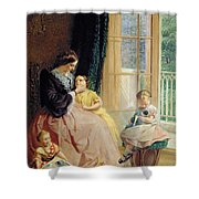 Mrs Hicks Mary Rosa and Elgar Shower Curtain by George Elgar Hicks
