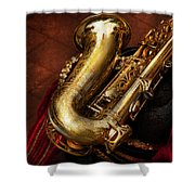 Music - Brass - Saxophone  Shower Curtain by Mike Savad