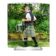 Music - Drummer In Pipe Band Shower Curtain by Susan Savad