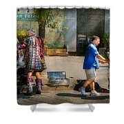 Music - Mummers Preperation Shower Curtain by Mike Savad