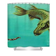 Muskie And The Lure Shower Curtain by Jeanne Fischer