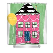 Mustache House Shower Curtain by Linda Woods